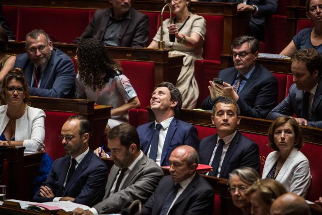Benjamin Griveaux (au centre), à l'Assemblée nationale à Paris, le 24 juillet.