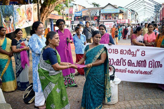 Des travailleuses du Kerala, un Etat du sud de l'Inde, lors de la Journée internationale des femmes, en 2018.