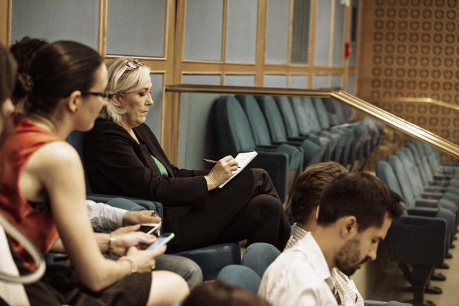Marine Le Pen lors des auditions au Sénat, le jeudi 26 juillet 2018. Salle Clémenceau.