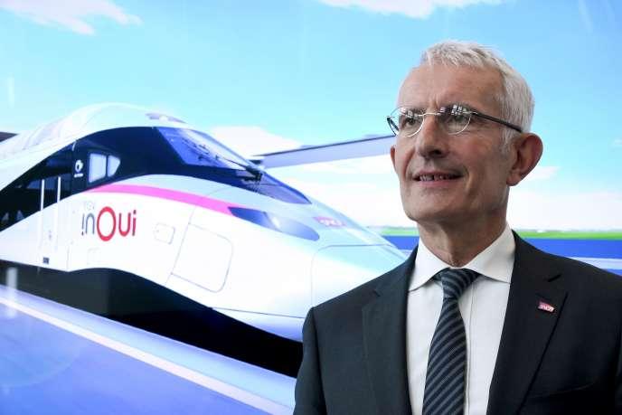 Le président directeur général de la SNCF, Guillaume Pepy, présente lors d'une conférence de presse la cinquième génération de trains à grande vitesse (TGV), le26juillet.