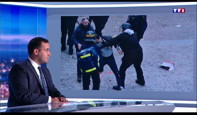 Alexandre Benalla, sur le plateau de TF1, pendant la diffusion des images de vidéosurveillance de la place de la Contrescarpe.