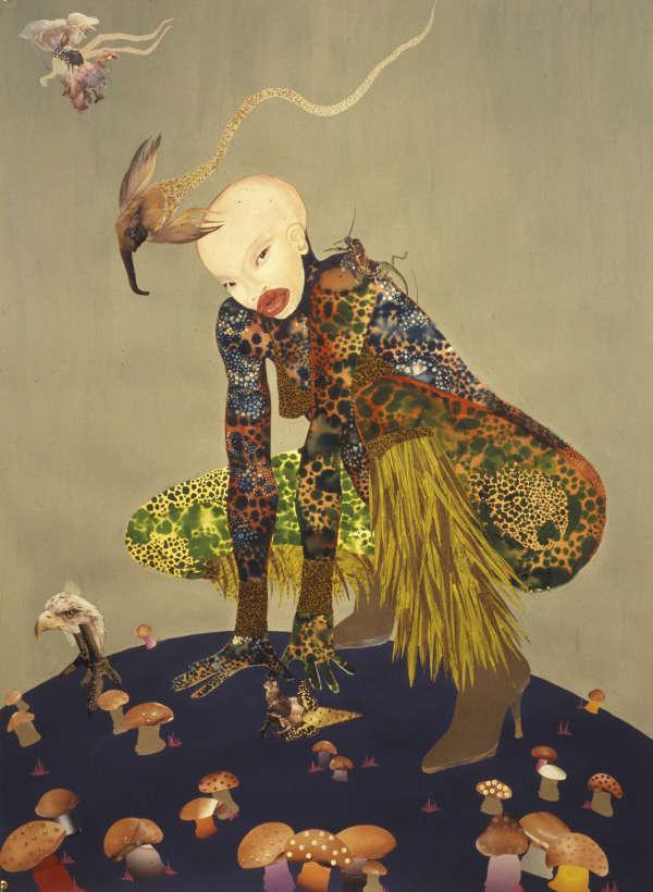 «Riding Death in My Sleep», 2002. Encre et collage sur papier (152,4 x 111,8 cm).
