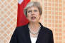 Britain's Prime Minister Theresa May speaks prior to a meeting with the Austrian Chancellor Sebastian Kurz in the hotel Sacher in Salzburg, Austria, on Friday, July 27, 2018. (AP Photo/Kerstin Joensson)