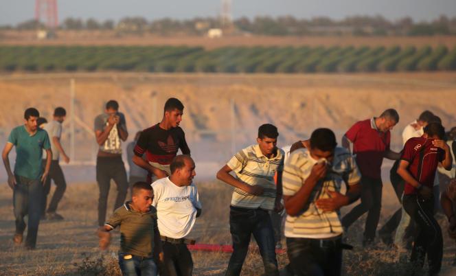 Une manifestation palestinienne s'est terminée dans les gaz lacrymogènes, vendredi 27 juillet 2018, à Gaza.