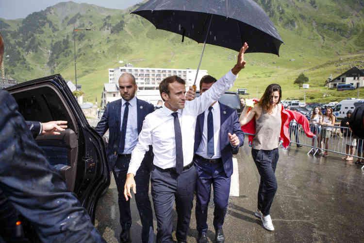 Emmanuel Macron à La Mongie le 26 juillet.
