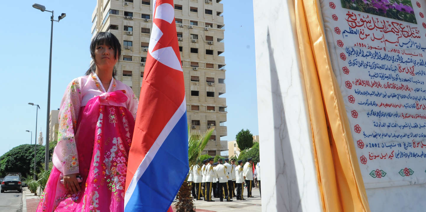 A young woman holds a North Korean flag during the inauguration ceremony of a park in the Syrian capital Damascus to honour North Korea's founding father Kim Il-Sung on August 31, 2015. The 9,000-square-metre park (about 2.2 acres) lies in the southwestern Damascus district of Kafr Sousa, atop the ruins of recently bulldozed homes. AFP PHOTO / STR / AFP PHOTO / -