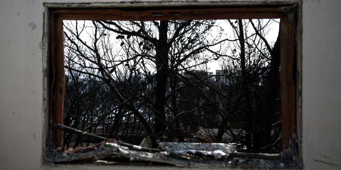 Le 27 juillet, des arbres calcinés, à travers une habitation détruite par les flammes, à Mati,la localité la plus touchée par les feux, en Grèce.