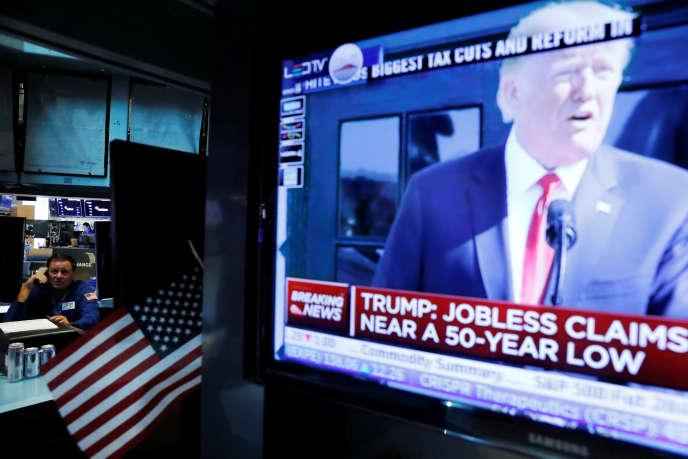 A la Bourse de New York, lors de l'annonce par le président américain Donald Trump des chiffres de la croissance trimestrielle, le 27 juillet.