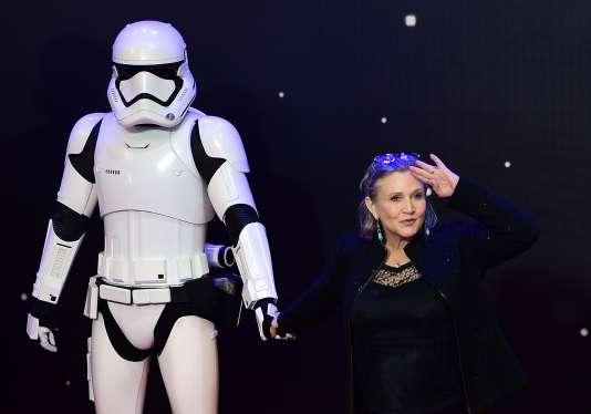 L'actrice Carrie Fisher lors de la première européenne de «Star Wars : Le Réveil de la Force», le 16 décembre 2015 à Londres.
