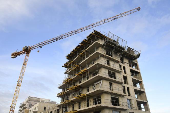 Construction d'un immeuble, à Rennes, le 28 décembre 2017.