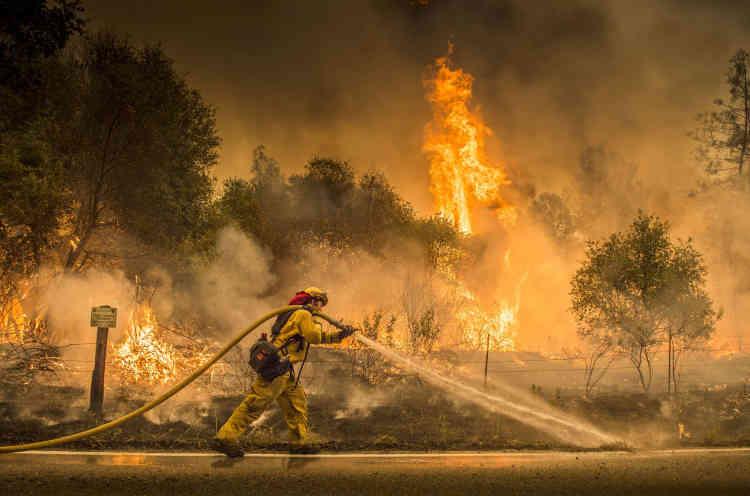Près de la ville d'Igo. Une chaleur écrasante, des vents forts et une importante humidité ont compliqué la tâche des pompiers.