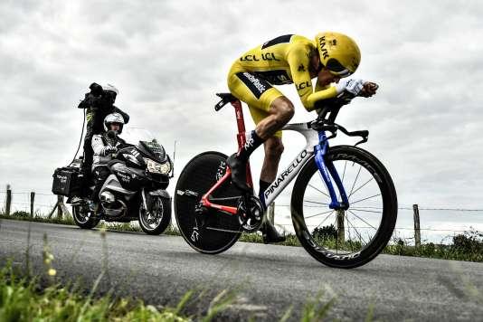 Le maillot jaune Geraint Thomas lors de la vingtième étape du Tour de France, entre Saint-Pée-sur-Nivelle et Espelette, le 28 juillet.