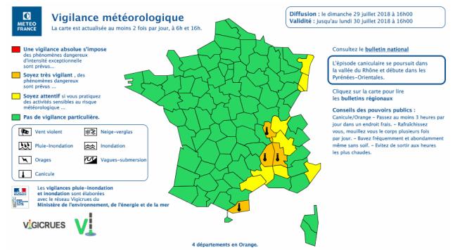 Trois départements de la vallée du Rhône - l'Ardèche, la Drôme et le Rhône - et le département des Pyrénées-Orientales, sont placés dimanche en alerte orange canicule.