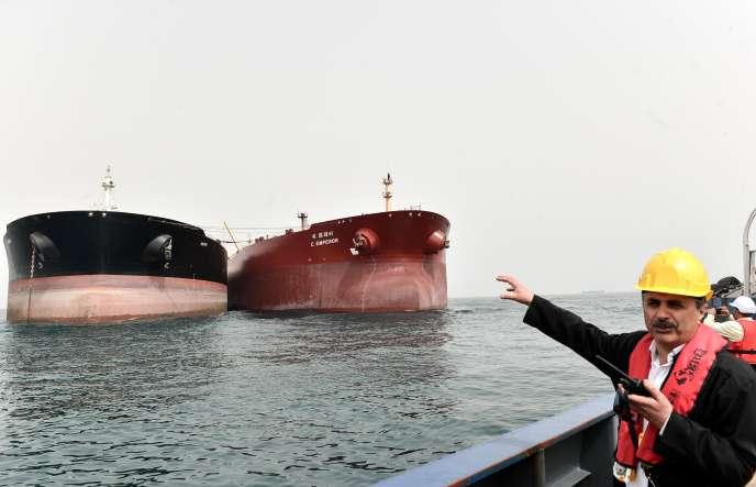 Des tankers au large de l'île iranienne de Kharg, dans le golfe Persique, le 12 mars 2017.