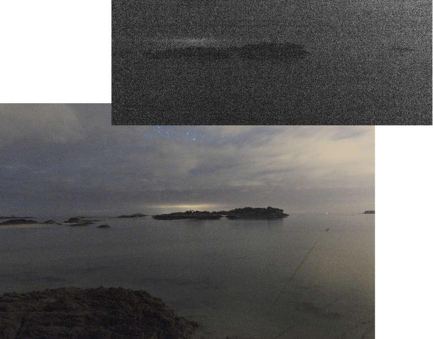 Dans la nuit noire, il faut ruser pour restituer la clarté perçue par l'œil, en laissant l'appareil ouvert30 secondes comme ici. Si on n'utilise pas cette technique de la «pose longue», on obtient une photo comme celle du dessus : un nuage de points informe.