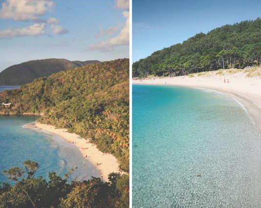 A gauche, la baie Trunk, en mer des Caraïbes, à droite la plage de Rodas, sur les îles Cies, au marge de la Galice.