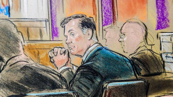 Dessin de Paul Manafort à l'intérieur de la cour fédérale de justice d'Alexandria, en Virginie, le 31 juillet.