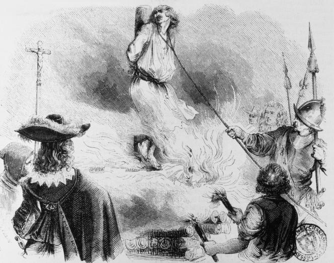 « Urbain Grandier », gravure sur bois, anonyme (1850). Le prêtre, accusé d'être le principal responsable de cas de possession au cloître des Ursulines de Loudun (Vienne), fut condamné au bûcher, le 18 août 1634.