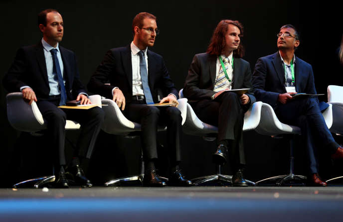 Les quatre lauréats de la médaille Fields,Caucher Birkar, Alessio Figalli, Peter Scholze et Akshay Venkatesh,à Rio de Janeiro (Brésil), le 1er août.