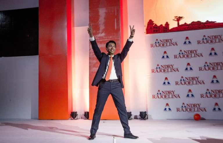 Andry Rajoelina, devant ses partisans réunis dans le palais des sports de Mahamasina, à Antananarivo, le 1er août 2018.