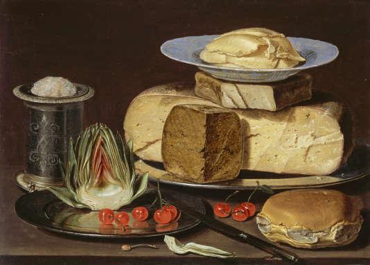 «Nature morte avec fromages, artichaut et cerises», Clara Peeters (vers 1625).