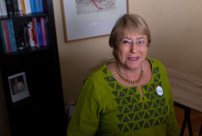 L'ancienne présidente du Chili, Michelle Bachelet, à l'inauguration de sa fondation à Santiago, le 2 août.