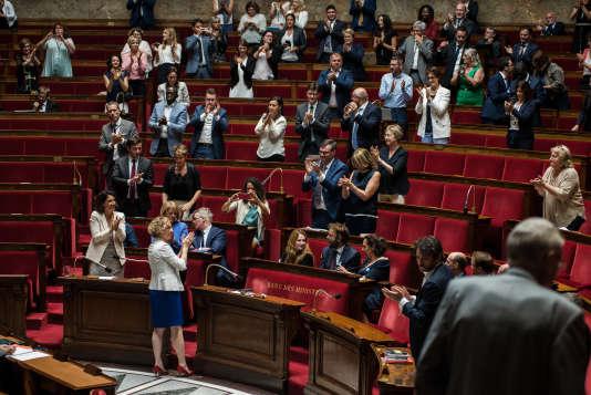 La ministre du travail, Muriel Pénicaud, lors de ladéfinitive puis vote du projet de loi pour la liberté de choisir son avenir professionnel à l'Assemblée nationale, le 1eraoût.