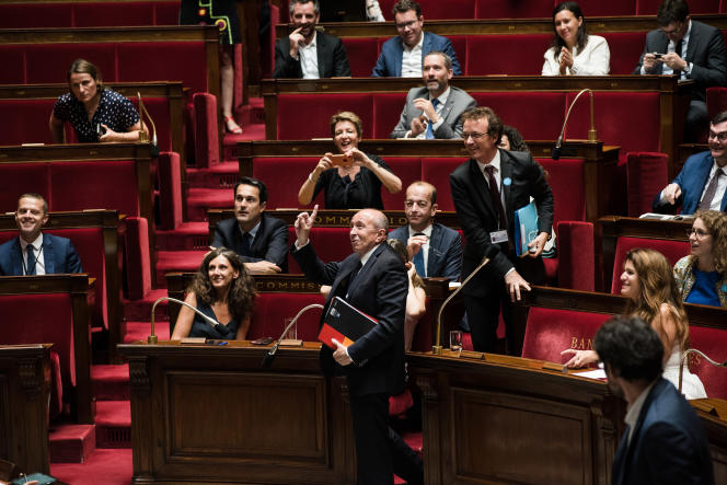 Gérard Collomb après que les députés ont adopté définitivement le projet de loi asile et immigration, à l'Assemblée nationale, le 1er août.