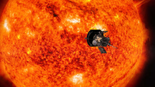 Vue d'artiste représentant Parker Solar Probe approchant le soleil.
