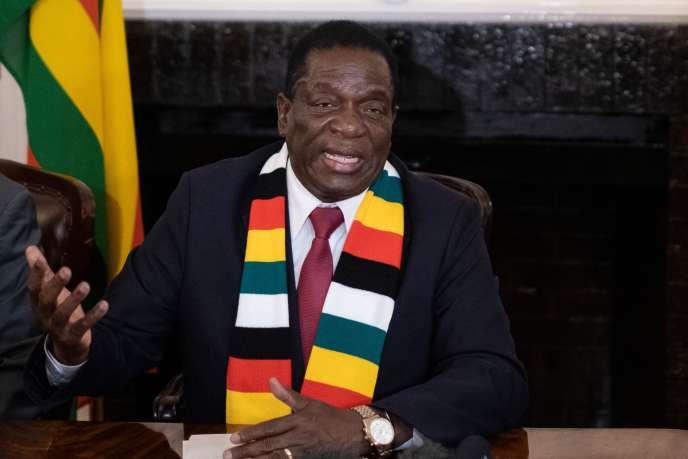 Le 3 août, Emmerson Mnangagwa donnait une conférence de presse pour annoncer sa victoire à l'élection présidentielle zimbabwéenne.