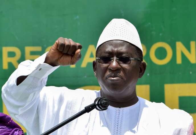 Soumaïla Cissé s'adressant à ses partisans à Bamako, le 3 août 2018.