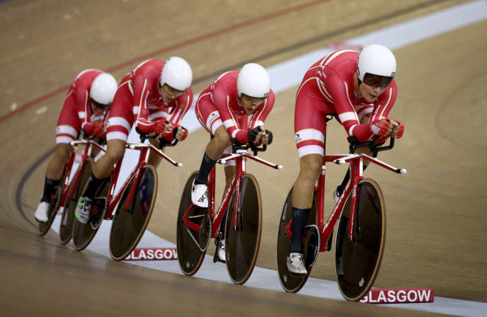 L'équipe de cyclisme sur piste du Danemark pendant les qualifications pour les Jeux européens à Glasgow (Ecosse), le 2 août.