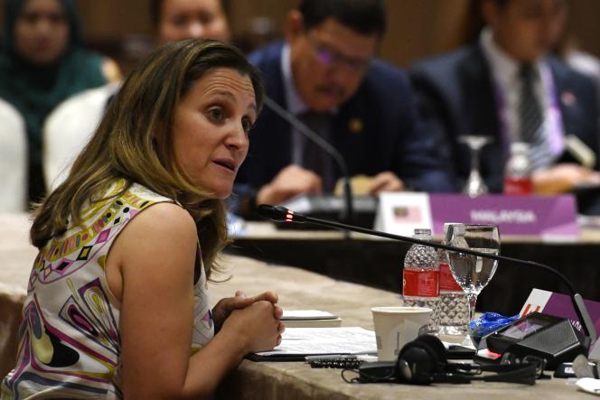 La ministre canadienne des affaires étrangères, Chrystia Freeland, à Singapour, le 3 août.