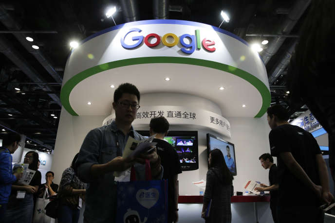 Un stand Google lors du salon Global Mobile Internet Conference, à Pékin (Chine), en avril 2016.