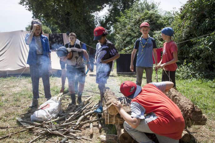 Dans un camp scout à Gournay-Loizé (Deux-Sèvres), le 16 juillet 2018.