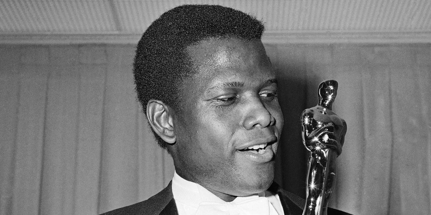 Actor Sidney Poitier is photographed with his Oscar statuette at the 36th Annual Academy Awards in Santa Monica, Calif. on April 13, 1964. He won Best Actor for his role in
