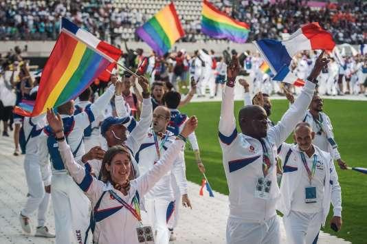 Lors de la cérémonie d'ouverture des Gay Games.