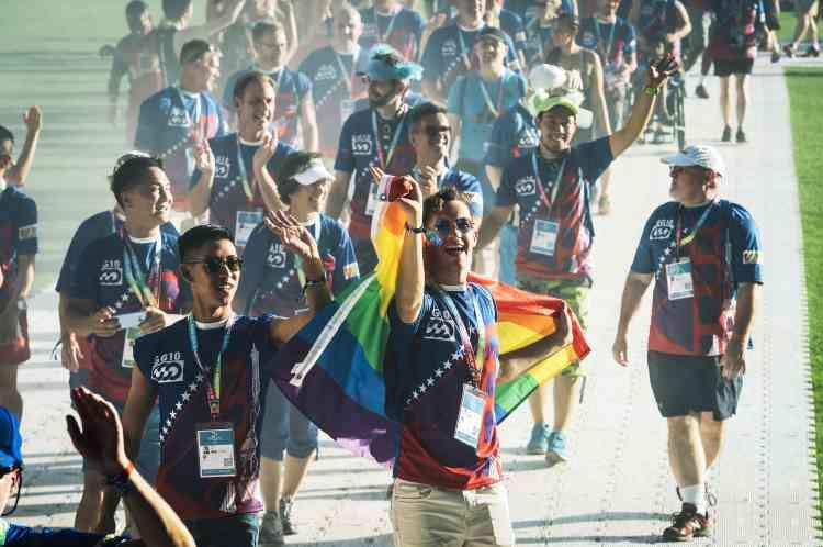 L'équipe américaine est la plus nombreuse à participer à ces 10eGay Games, nés à San Francisco en 1982, avec 3362 représentants.