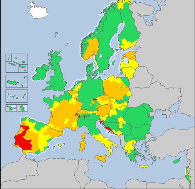 Vigilance météorologique en Europe, le 4 août, selon le site Meteoalarm.eu.