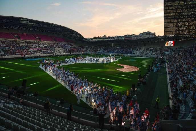 Cérémonie de lancement des Gay Games au stade Jean-Bouin, à Paris, le 4 août 2018.