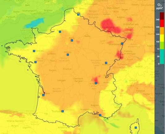 Prévision de la pollution à l'ozone le lundi 6 août, selon l'organisme Prev'Air.
