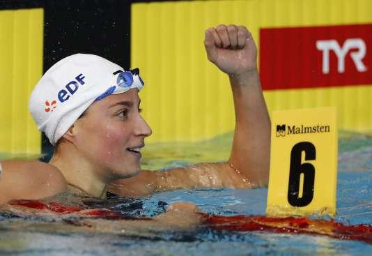 Charlotte Bonnet, sacrée championne d'Europe du 200mètres nage libre, le 6 août, à Glasgow (Ecosse).