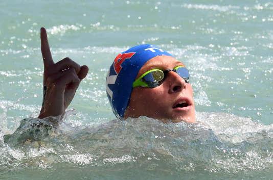 Marc-Antoine Olivier dans les eaux du lac Balaton en Hongrie, en juillet 2017.