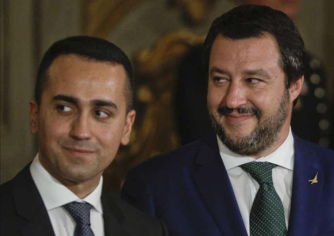Luigi Di Maio et Matteo Salvini, les deux vice-premiers ministres, au palais du Quirinal, à Rome, le 1erjuin 2018.