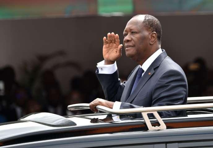 Le président ivoirien, Alassane Ouattara, lors des célébrations du 58e anniversaire de l'indépendance du pays, le 7 août àAbidjan.