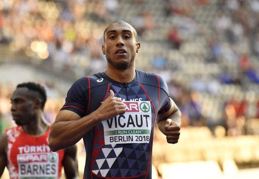 L'athlète français Jimmy Vicaut lors de la demi-finale du 100 m, à Berlin, le 7 août.