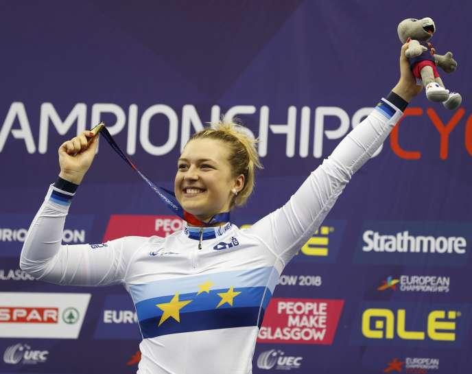 La Française Mathilde Gros après sa victoire sur le keirin, le 7 août 2018 à Glasgow.
