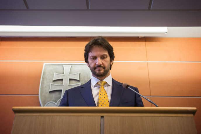 Robert Kalinak, alors ministre de l'intérieur slovaque,le 12 mars.