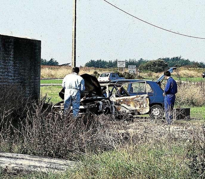 La voiture de Marie-Michèle Calvez, où le corps de la jeune femme, gisait, immolé, a été retrouvée près d'une conserverie désaffectée.