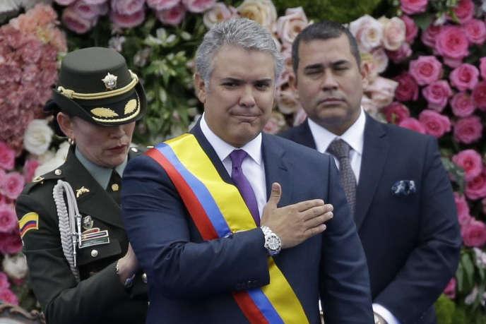 Le président colombien, Ivan Duque, au cours de sa cérémonie d'investiture, le 7 août à Bogota.
